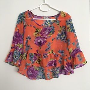 Tobi orange floral top